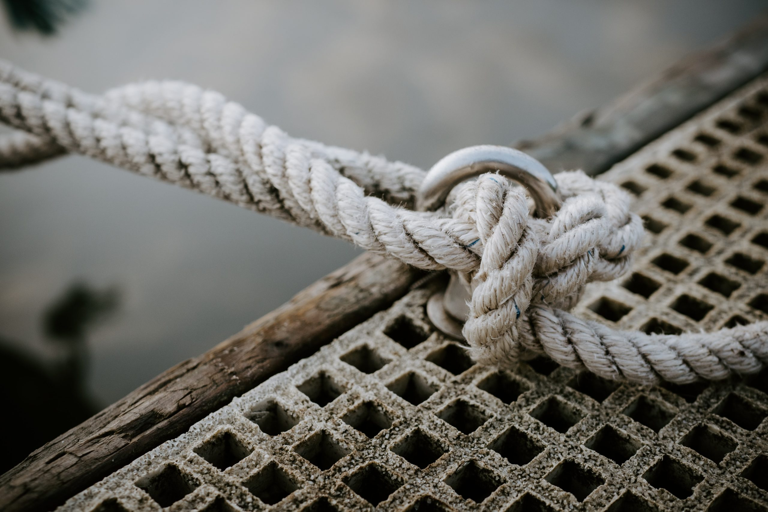 Rope knot tied to pier